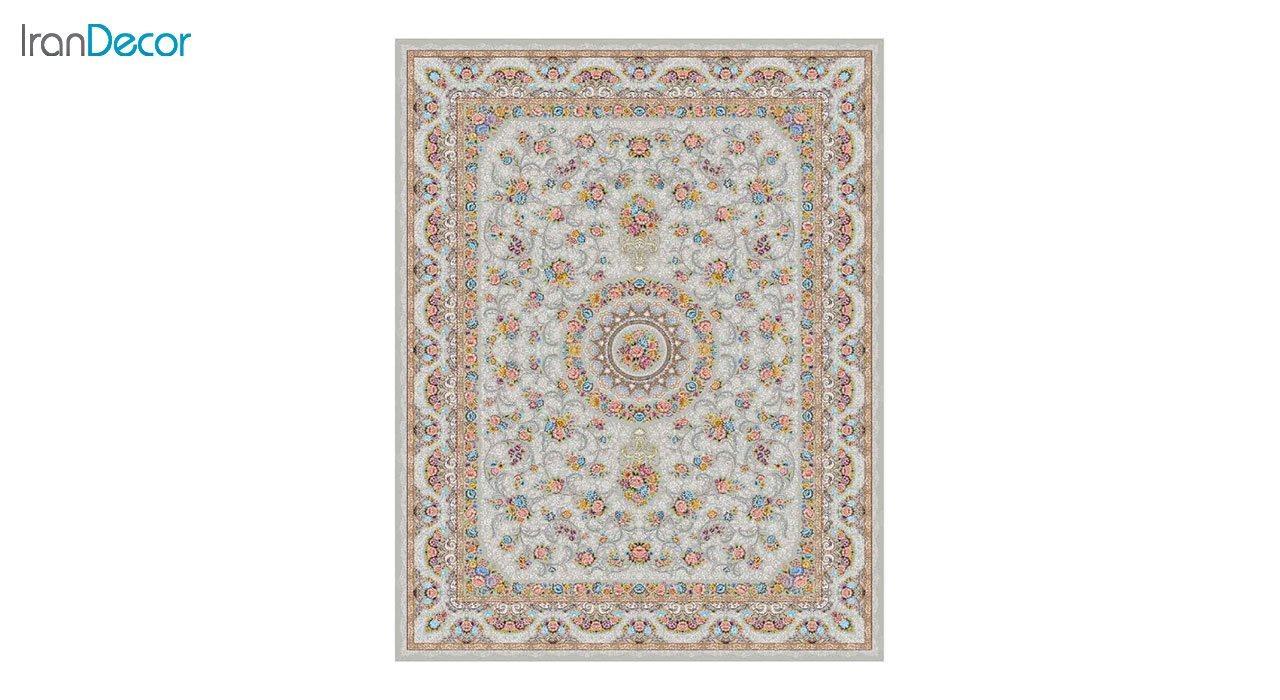 تصویر فرش ماشینی 1200 شانه کشمیر طرح گل افشان نقره ای