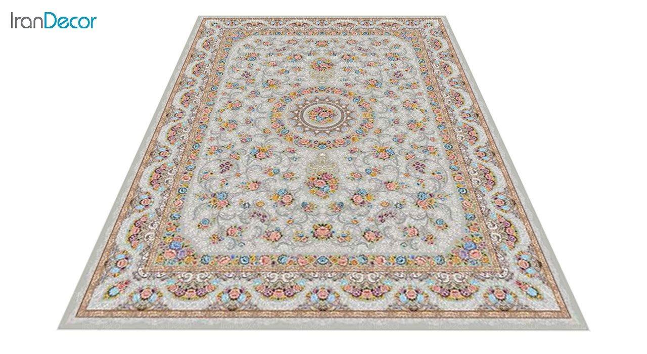 عکس فرش ماشینی 1200 شانه کشمیر طرح گل افشان نقره ای