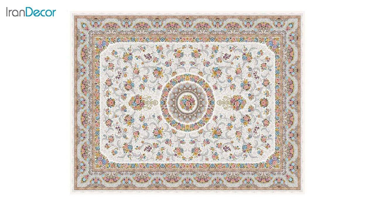 تصویر فرش ماشینی 1200 شانه کشمیر طرح گل افشان کرم