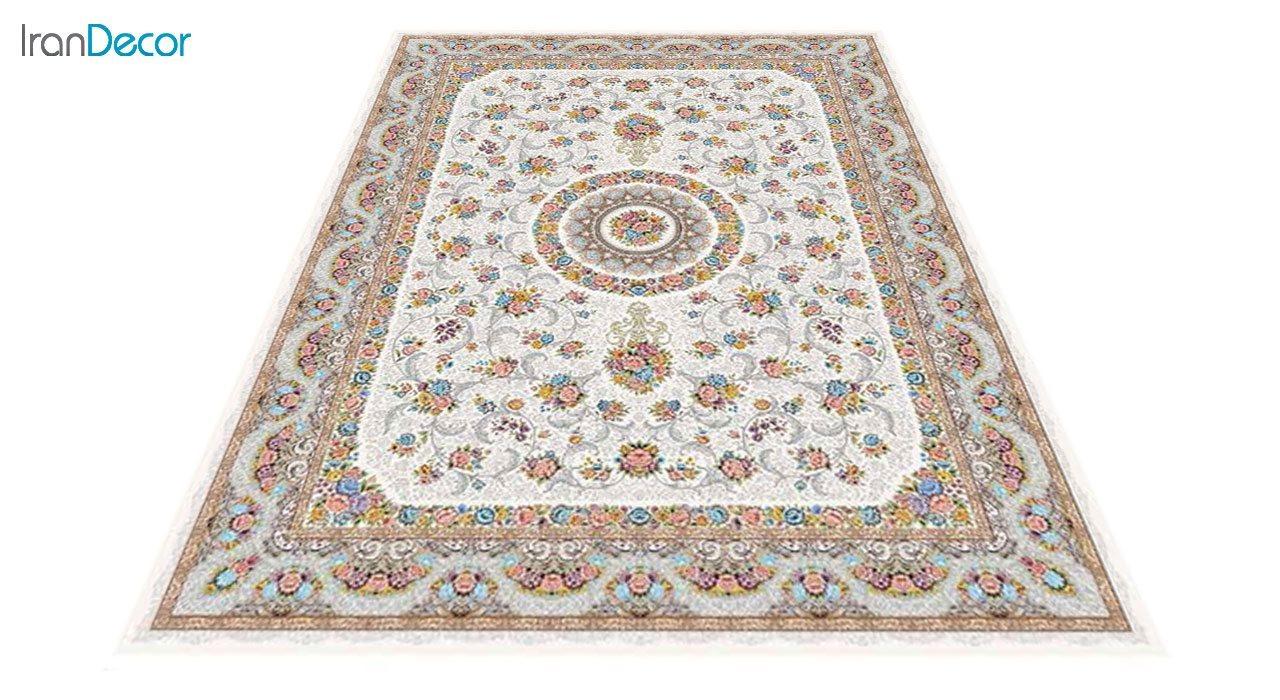 عکس فرش ماشینی 1200 شانه کشمیر طرح گل افشان کرم