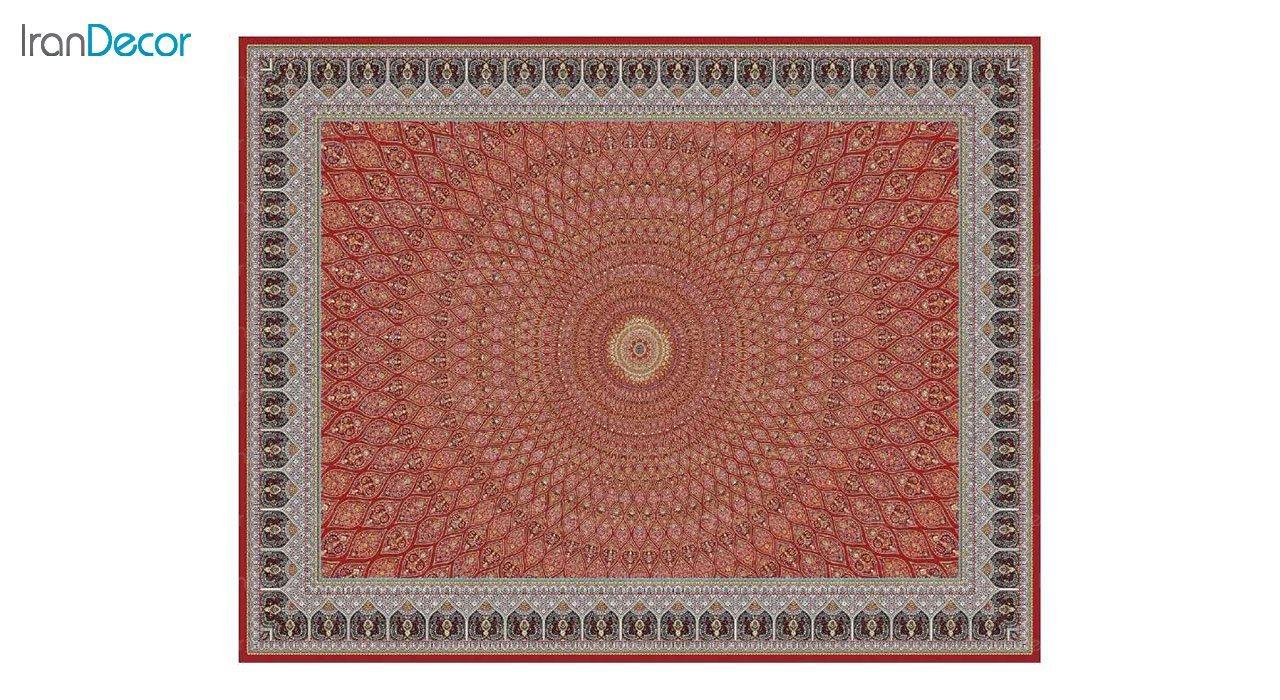 تصویر فرش ماشینی 1200 شانه کشمیر طرح گنبد قرمز