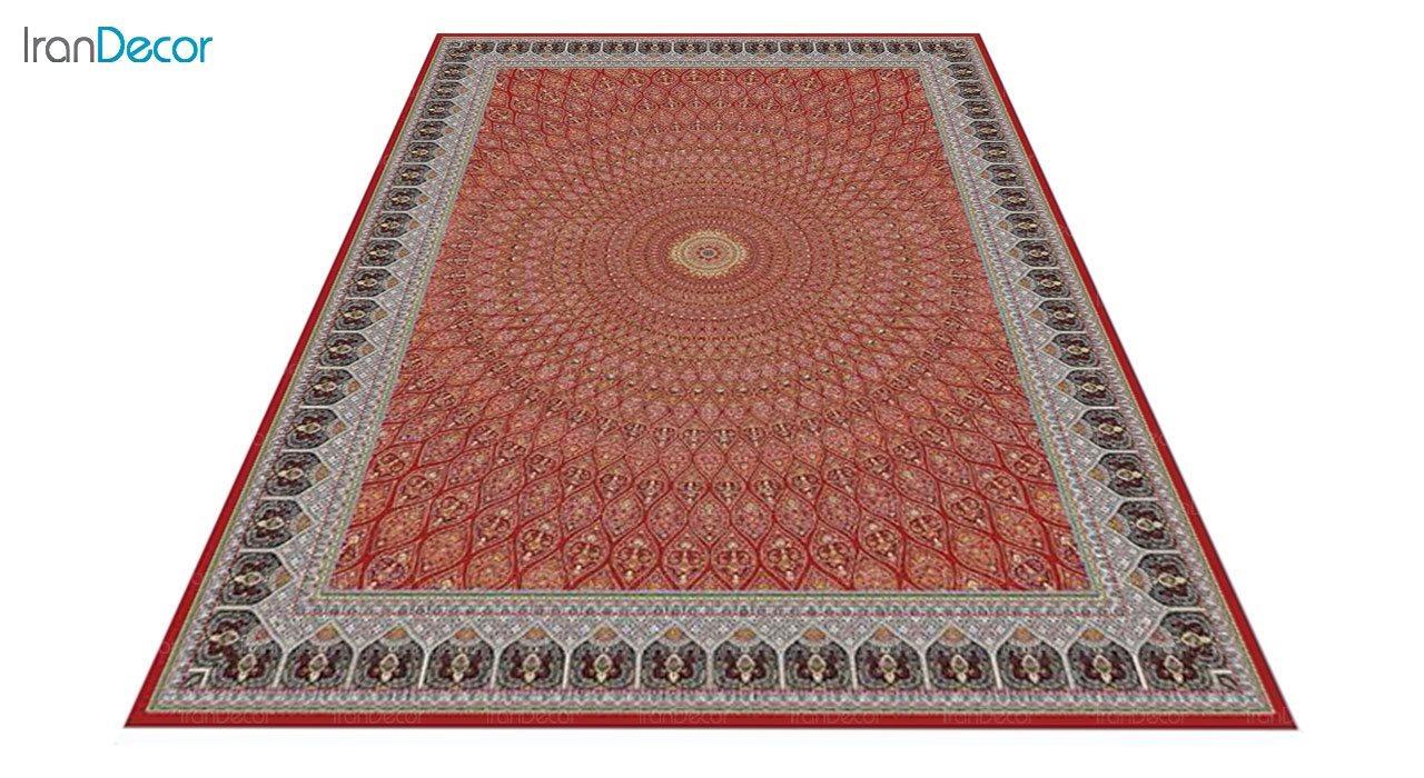 عکس فرش ماشینی 1200 شانه کشمیر طرح گنبد قرمز