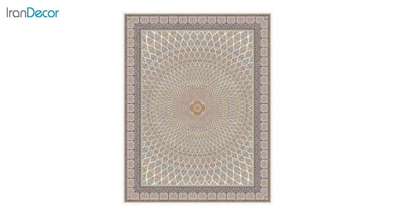 تصویر فرش ماشینی 1200 شانه کشمیر طرح گنبد کرم