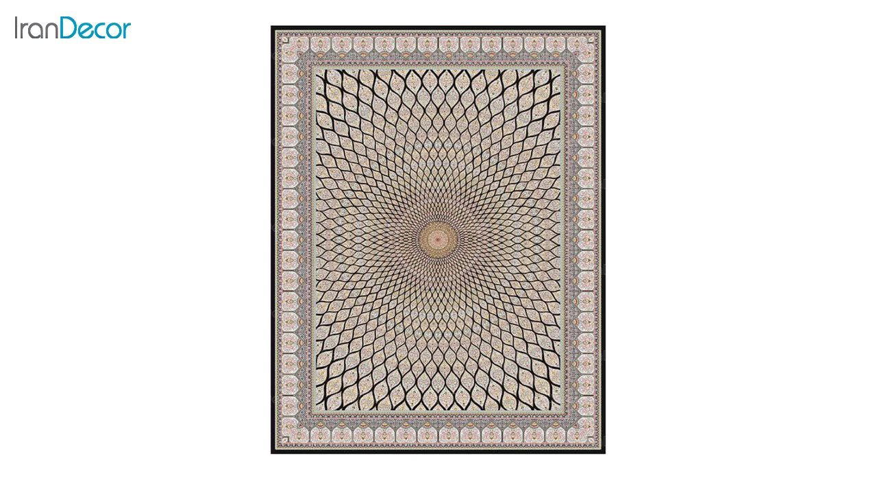 تصویر فرش ماشینی 1200 شانه کشمیر طرح گنبد زمینه مشکی