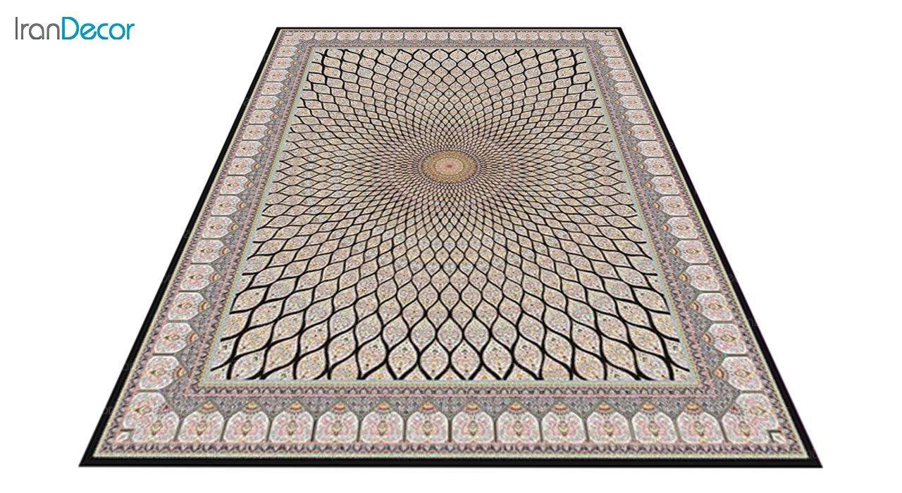 عکس فرش ماشینی 1200 شانه کشمیر طرح گنبد زمینه مشکی