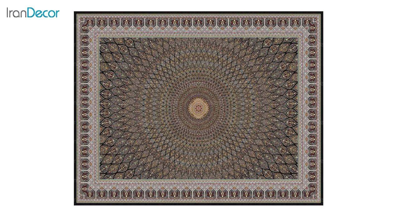تصویر فرش ماشینی 1200 شانه کشمیر طرح گنبد مشکی