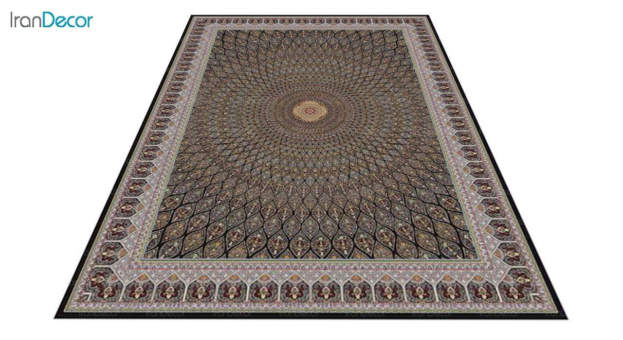 عکس فرش ماشینی 1200 شانه کشمیر طرح گنبد مشکی