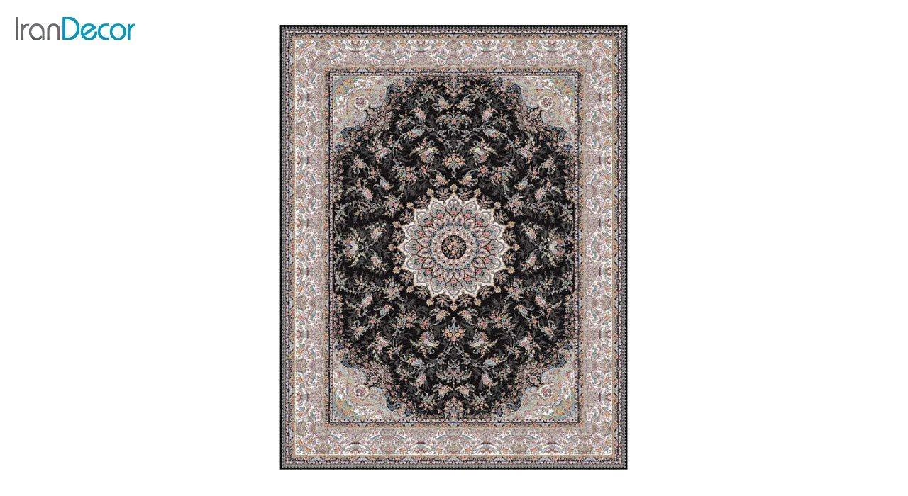 تصویر فرش ماشینی 1200 شانه کشمیر طرح آنالیا مشکی
