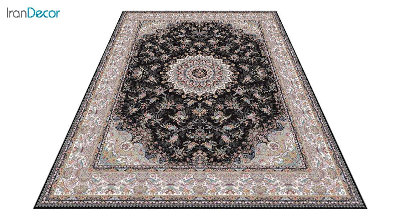 عکس فرش ماشینی 1200 شانه کشمیر طرح آنالیا مشکی