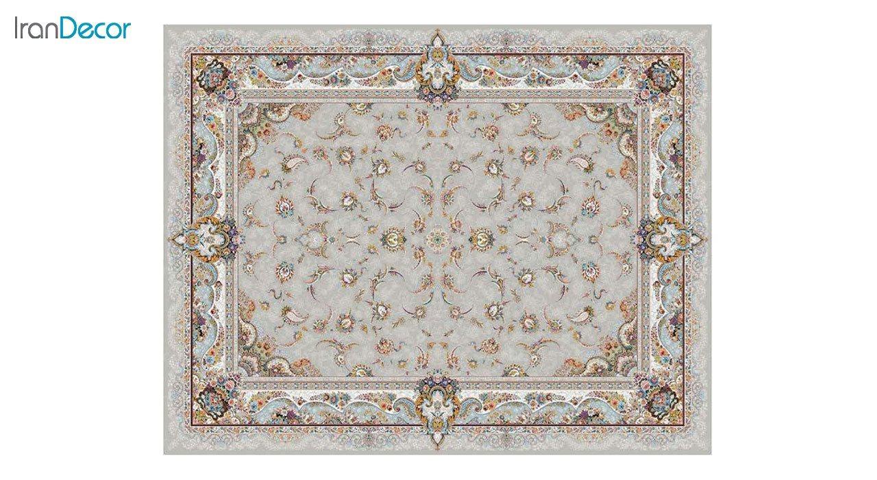 تصویر فرش ماشینی 1200 شانه کشمیر طرح سحر نقره ای
