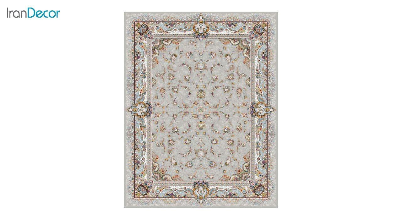 عکس فرش ماشینی 1200 شانه کشمیر طرح سحر نقره ای