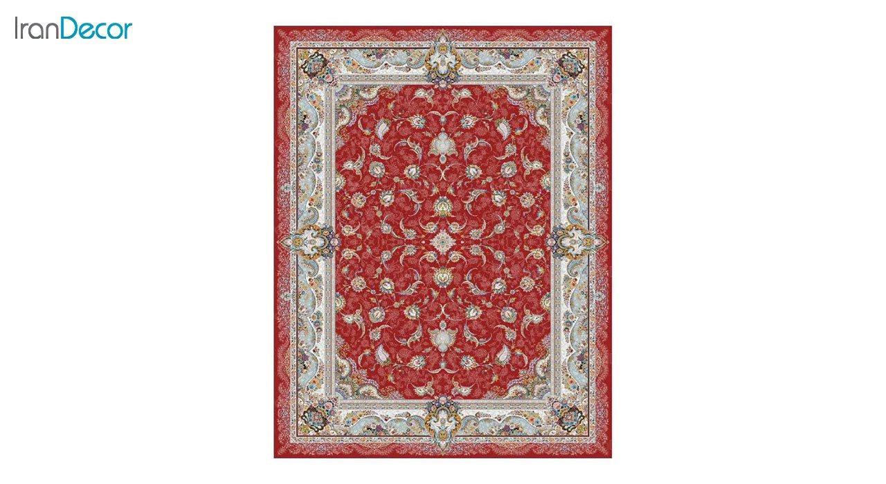 تصویر فرش ماشینی 1200 شانه کشمیر طرح سحر قرمز