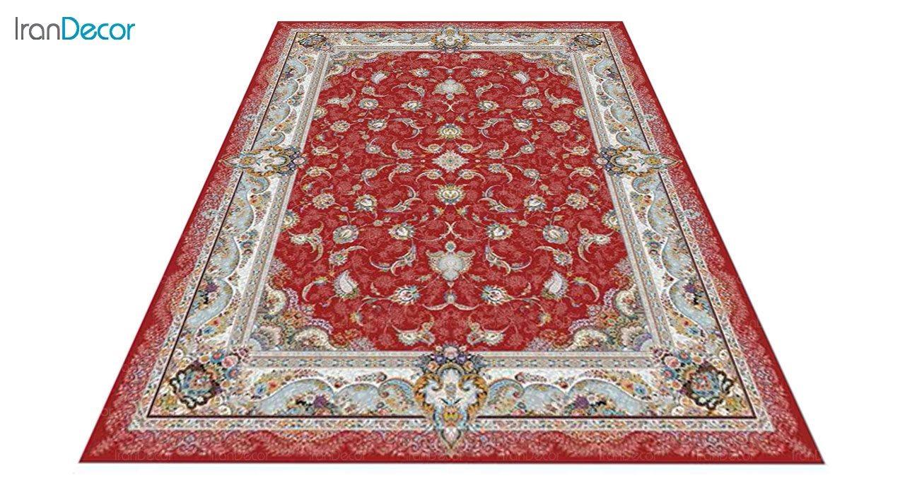 عکس فرش ماشینی 1200 شانه کشمیر طرح سحر قرمز
