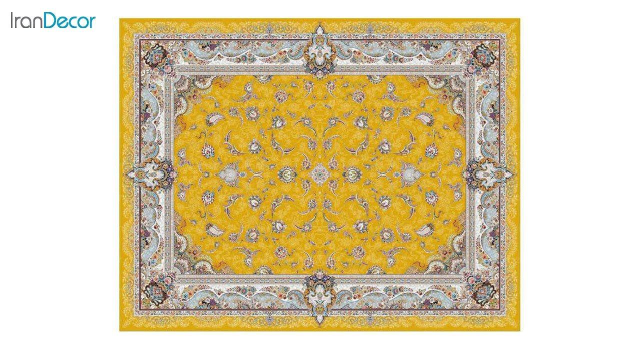تصویر فرش ماشینی 1200 شانه کشمیر طرح سحر طلایی
