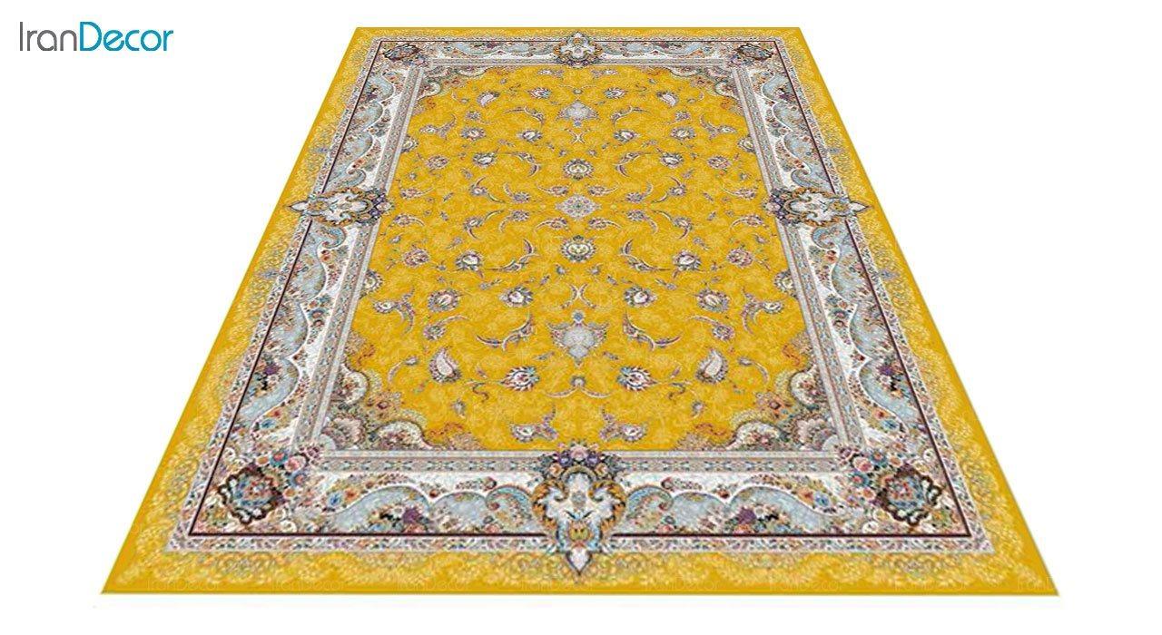 عکس فرش ماشینی 1200 شانه کشمیر طرح سحر طلایی