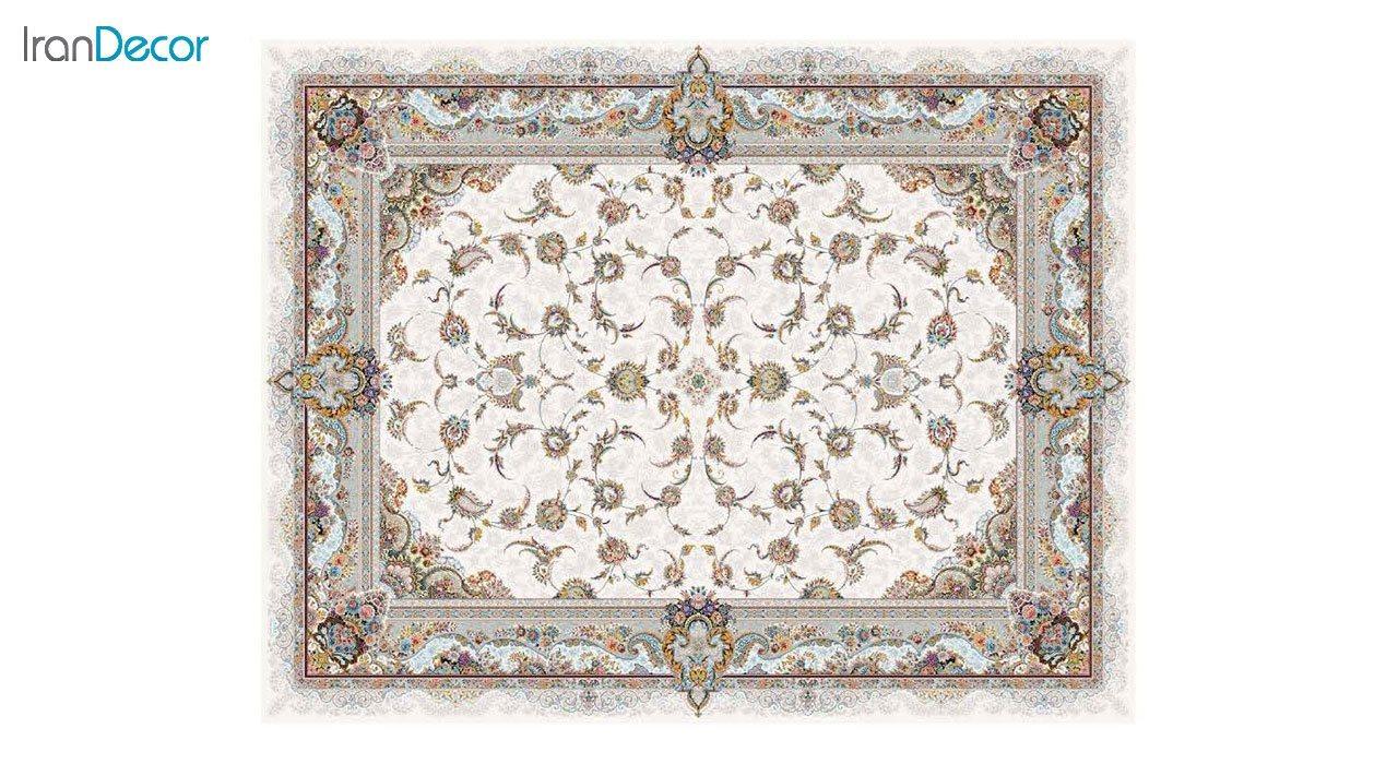 تصویر فرش ماشینی 1200 شانه کشمیر طرح سحر کرم