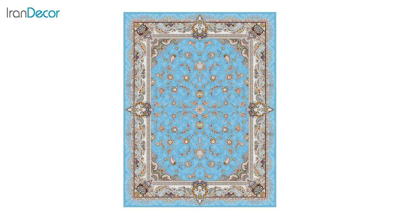 تصویر فرش ماشینی 1200 شانه کشمیر طرح سحر آبی