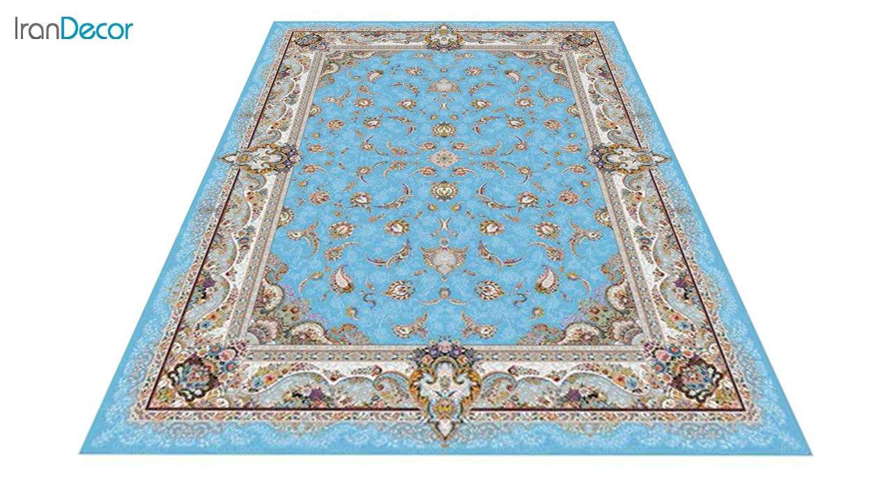 عکس فرش ماشینی 1200 شانه کشمیر طرح سحر آبی