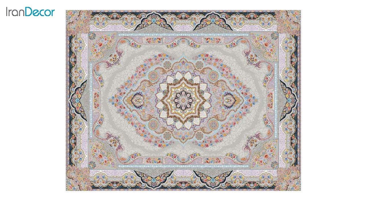 تصویر فرش ماشینی 1200 شانه کشمیر طرح تاج محل نقره ای