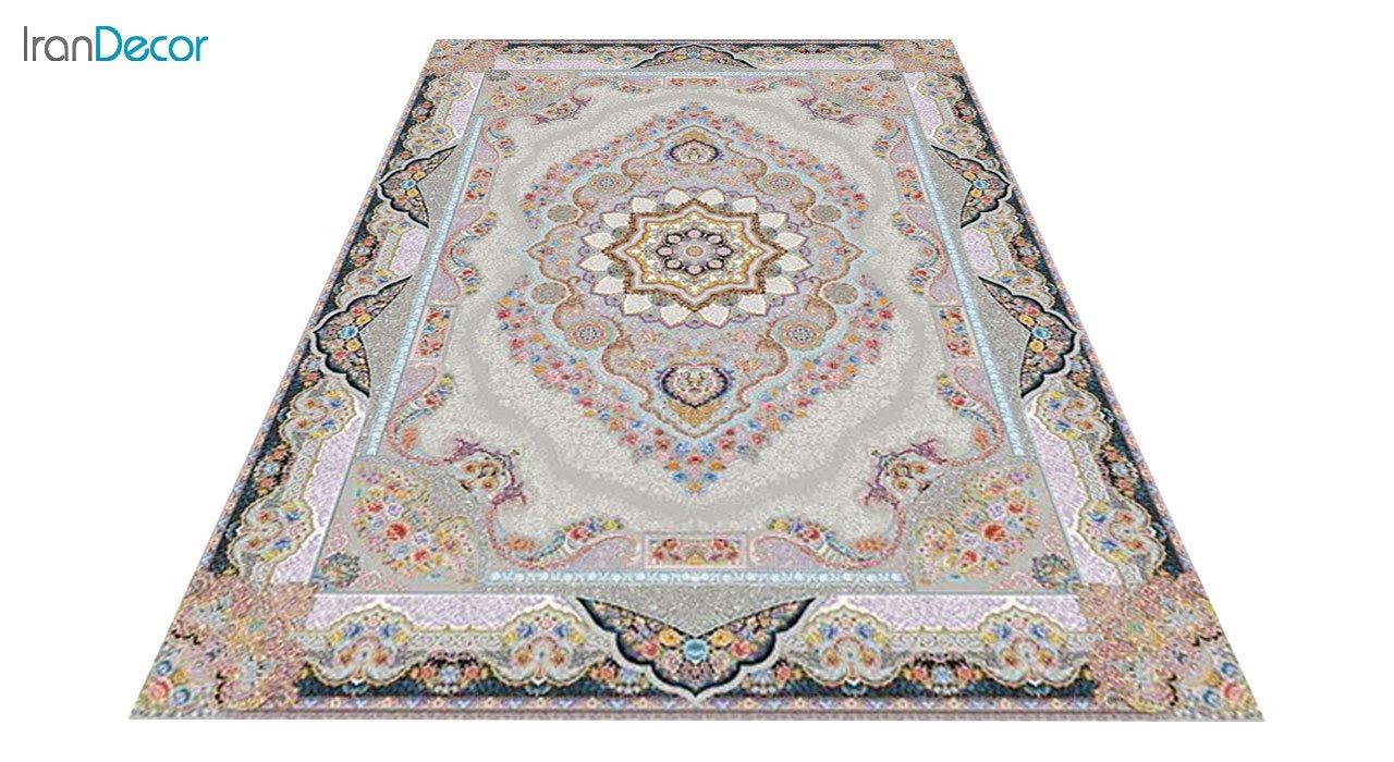 عکس فرش ماشینی 1200 شانه کشمیر طرح تاج محل نقره ای