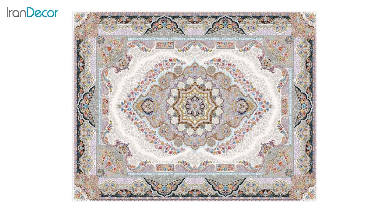 تصویر فرش ماشینی 1200 شانه کشمیر طرح تاج محل کرم