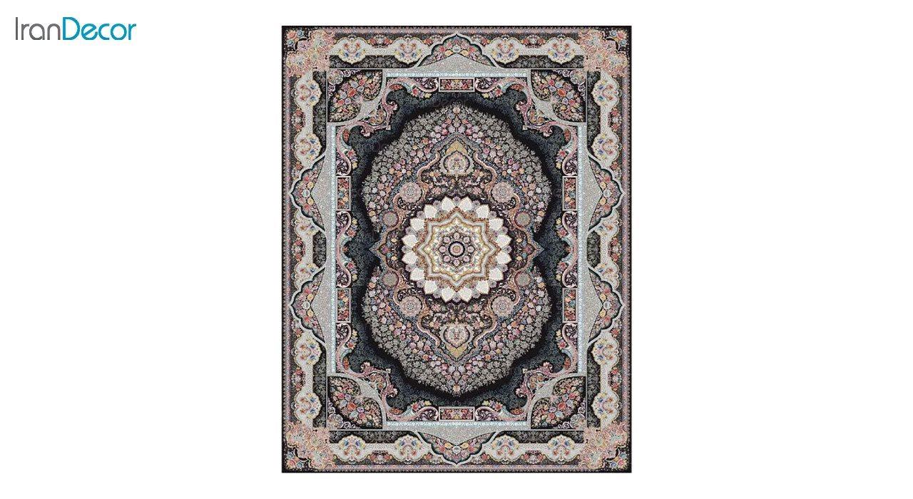 تصویر فرش ماشینی 1200 شانه کشمیر طرح تاج محل مشکی