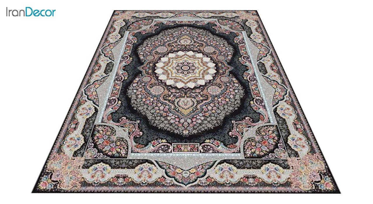 عکس فرش ماشینی 1200 شانه کشمیر طرح تاج محل مشکی
