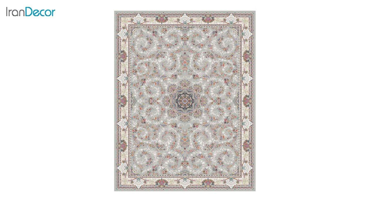 تصویر فرش ماشینی 1200 شانه کشمیر طرح ماهرو نقره ای