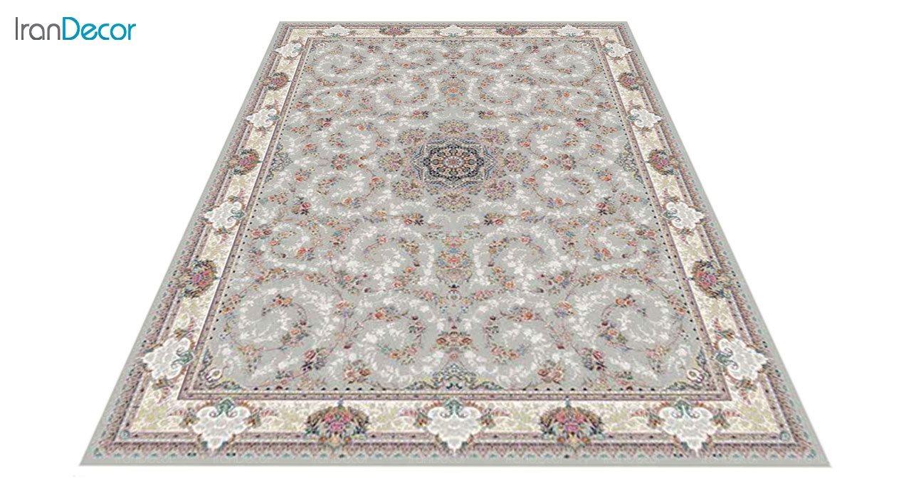 عکس فرش ماشینی 1200 شانه کشمیر طرح ماهرو نقره ای