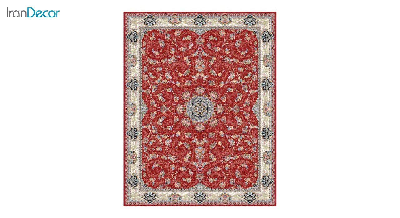 تصویر فرش ماشینی 1200 شانه کشمیر طرح ماهرو قرمز