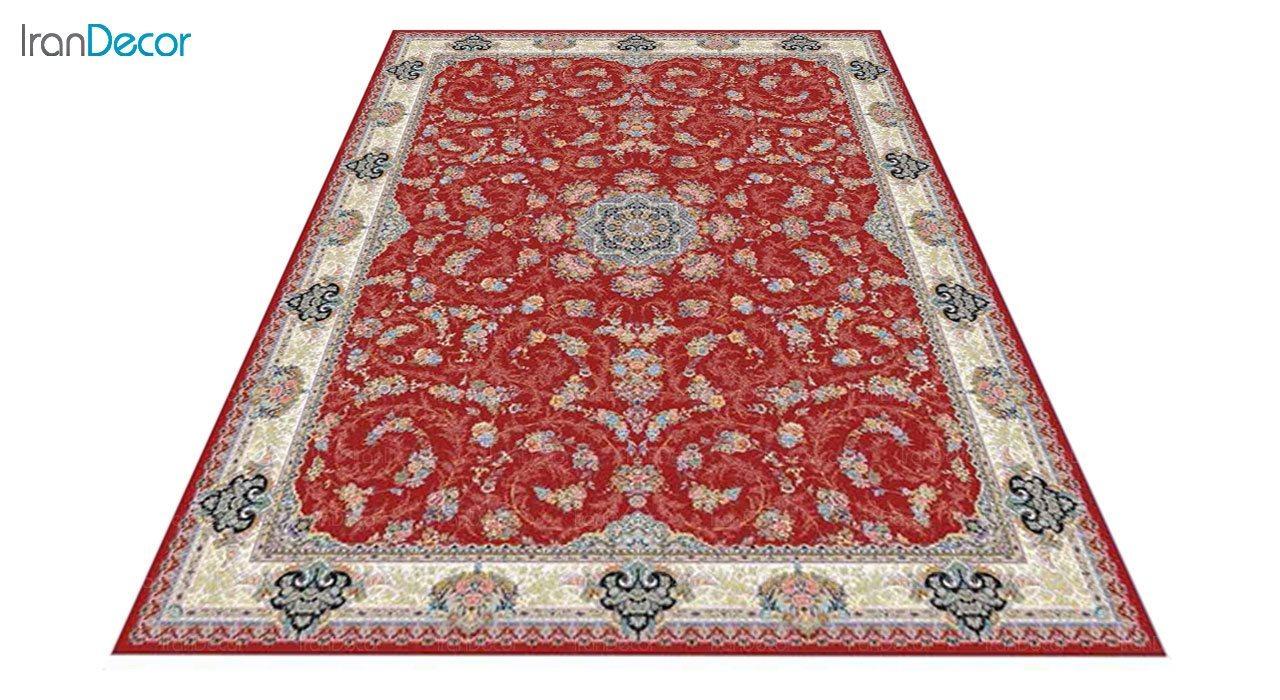 عکس فرش ماشینی 1200 شانه کشمیر طرح ماهرو قرمز