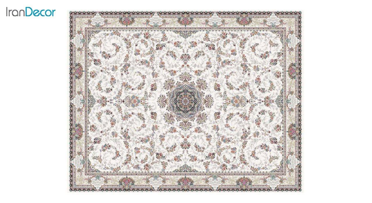 تصویر فرش ماشینی 1200 شانه کشمیر طرح ماهرو کرم