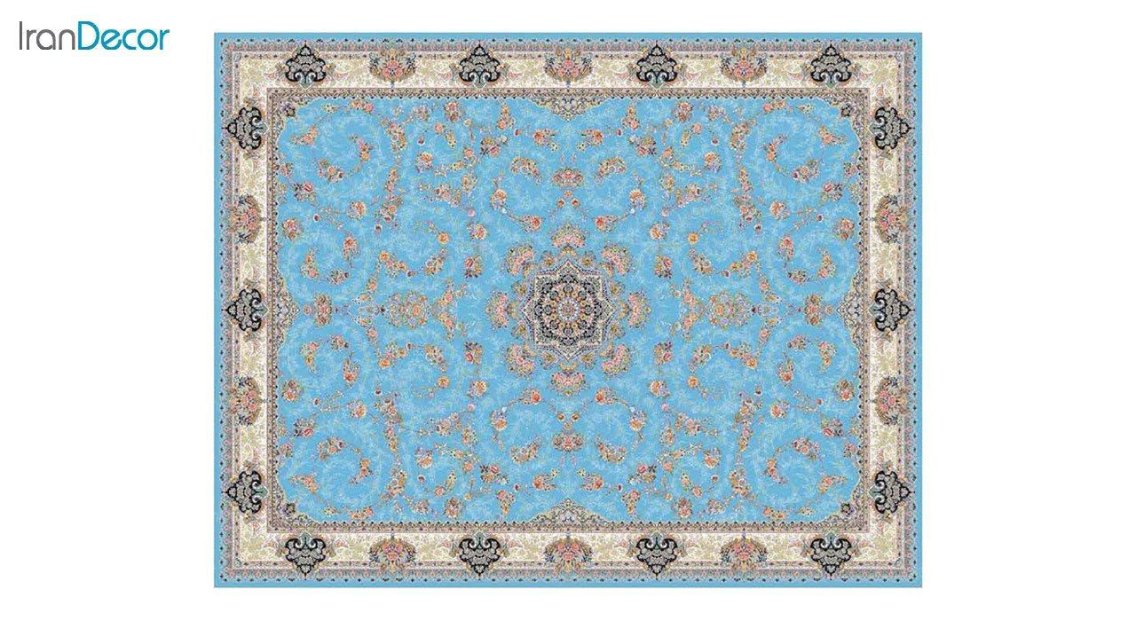 تصویر فرش ماشینی 1200 شانه کشمیر طرح ماهرو آبی