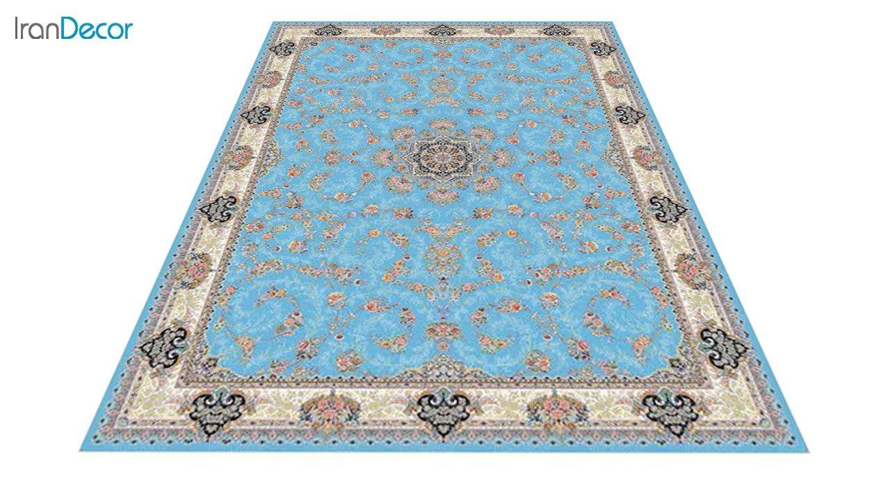 عکس فرش ماشینی 1200 شانه کشمیر طرح ماهرو آبی