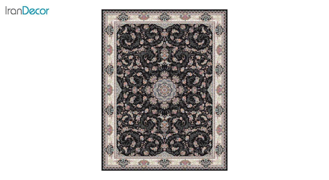 تصویر فرش ماشینی 1200 شانه کشمیر طرح ماهرو مشکی