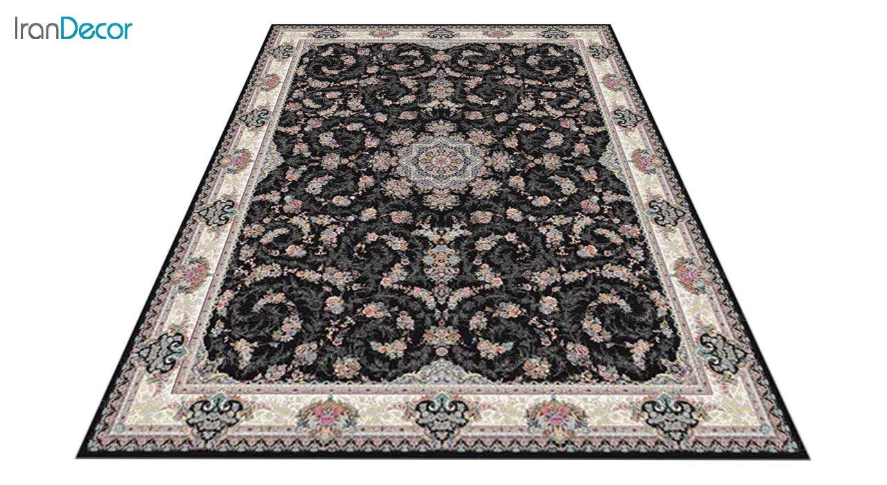 عکس فرش ماشینی 1200 شانه کشمیر طرح ماهرو مشکی