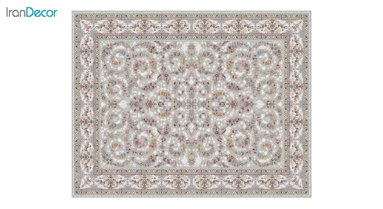 تصویر فرش ماشینی 1200 شانه کشمیر طرح  حریر نقره ای