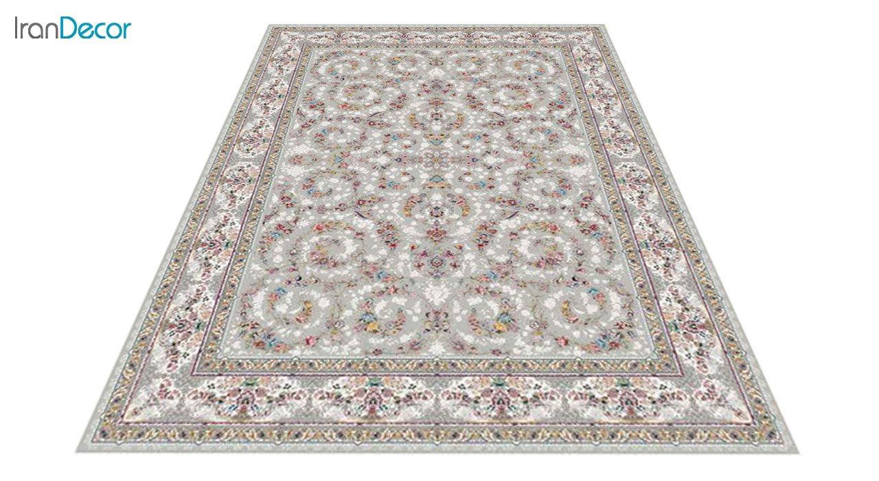 عکس فرش ماشینی 1200 شانه کشمیر طرح  حریر نقره ای