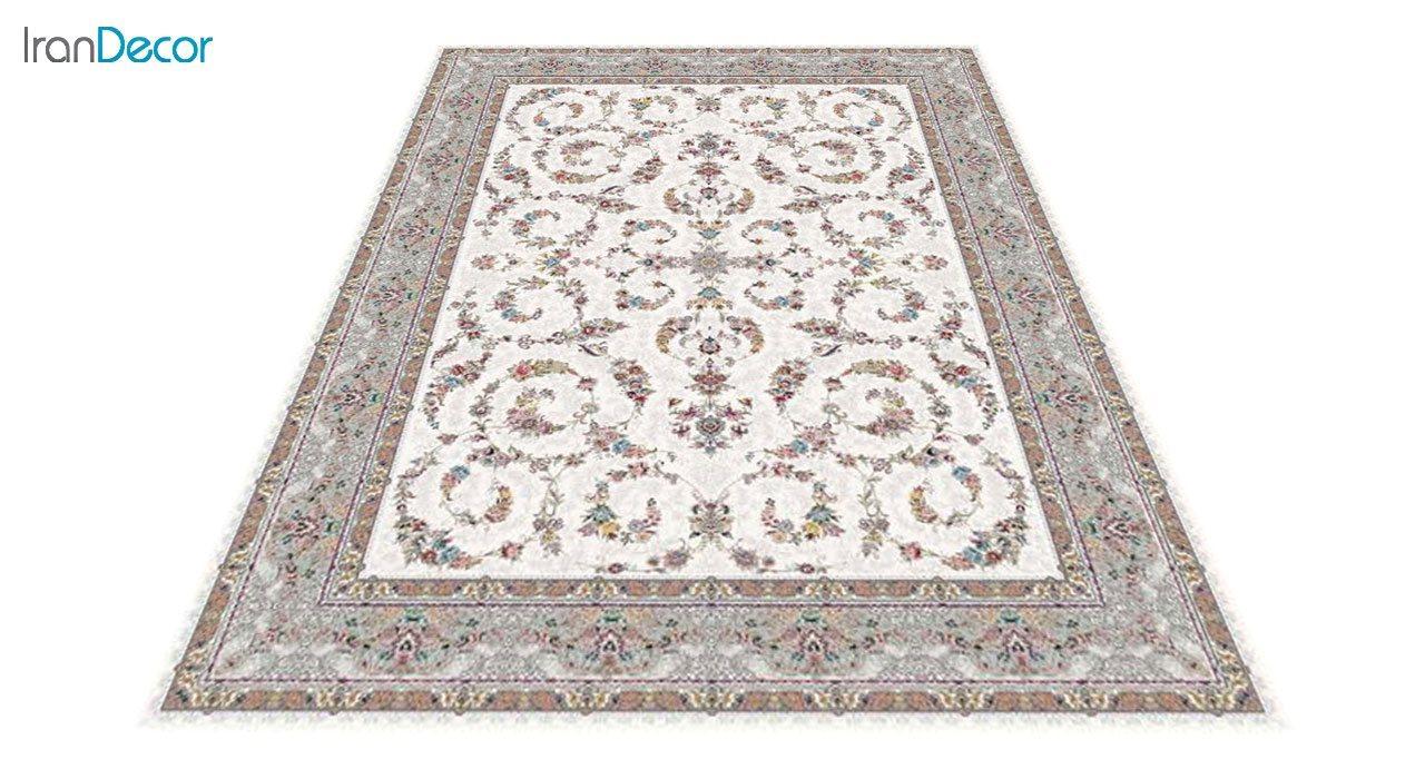 عکس فرش ماشینی 1200 شانه کشمیر طرح حریر کرم