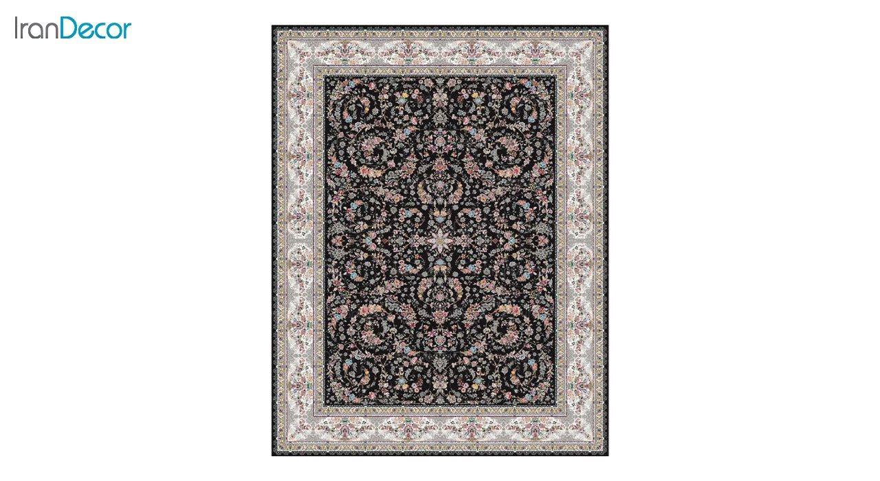 تصویر فرش ماشینی 1200 شانه کشمیر طرح حریر مشکی