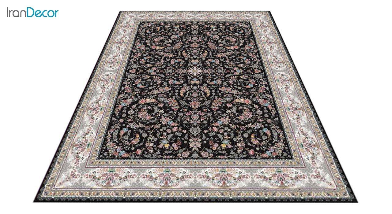 عکس فرش ماشینی 1200 شانه کشمیر طرح حریر مشکی