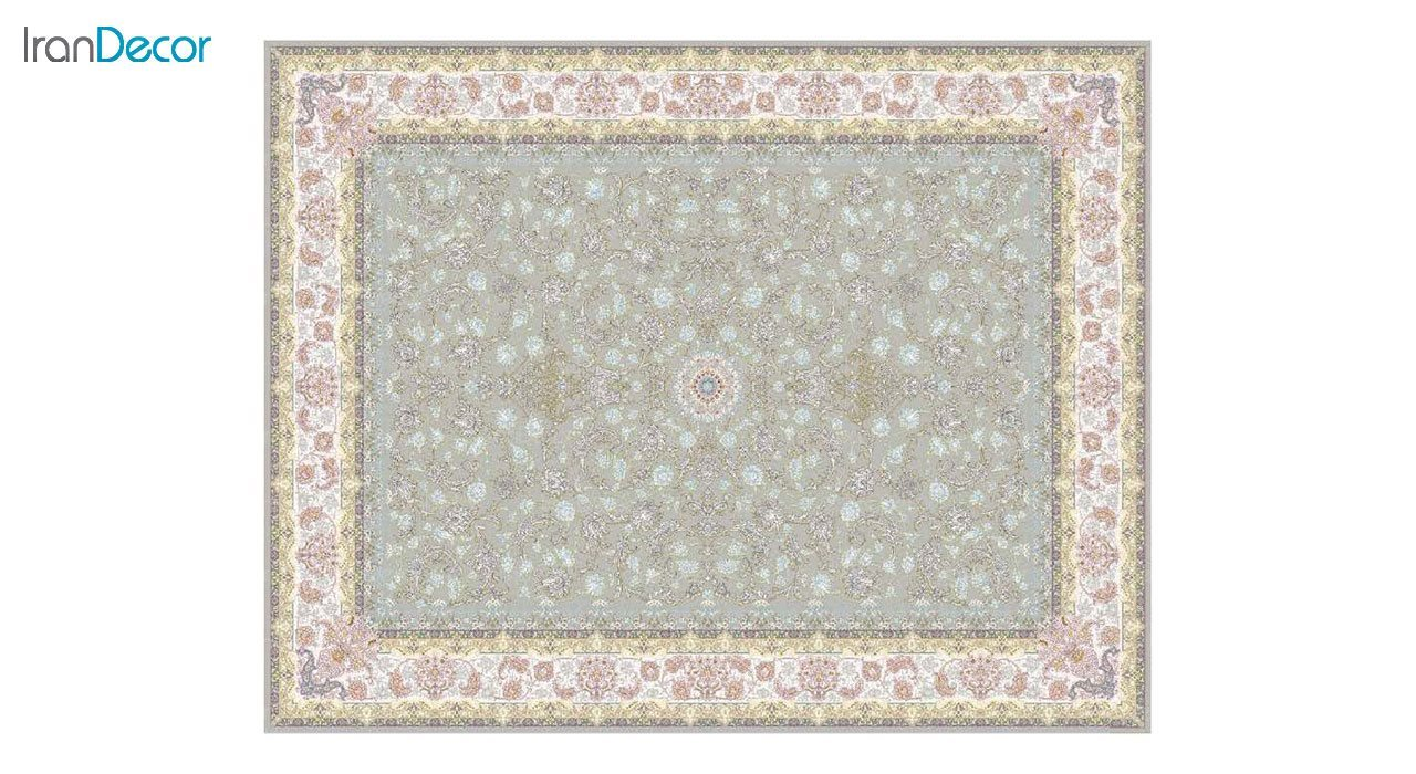 تصویر فرش ماشینی 1200 شانه کشمیر طرح  کاخ نقره ای حاشیه کرم