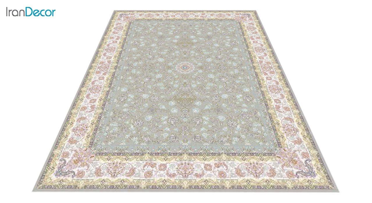عکس فرش ماشینی 1200 شانه کشمیر طرح  کاخ نقره ای حاشیه کرم