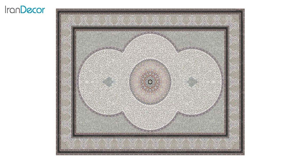 تصویر فرش ماشینی 1200 شانه کشمیر طرح الماس کرم