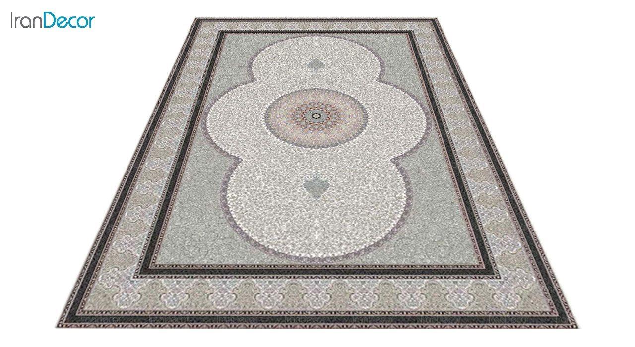 عکس فرش ماشینی 1200 شانه کشمیر طرح الماس کرم