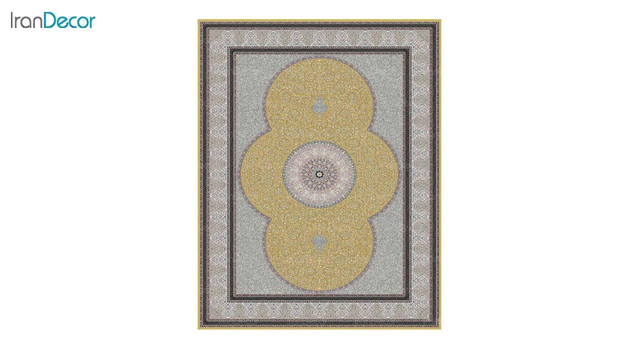 تصویر فرش ماشینی 1200 شانه کشمیر طرح الماس طلایی