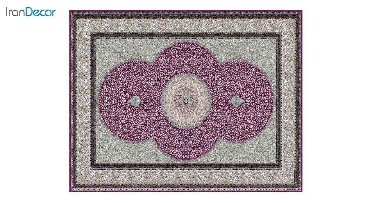 تصویر فرش ماشینی 1200 شانه کشمیر طرح الماس بنفش