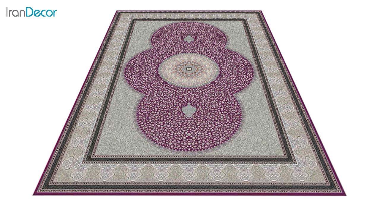 عکس فرش ماشینی 1200 شانه کشمیر طرح الماس بنفش