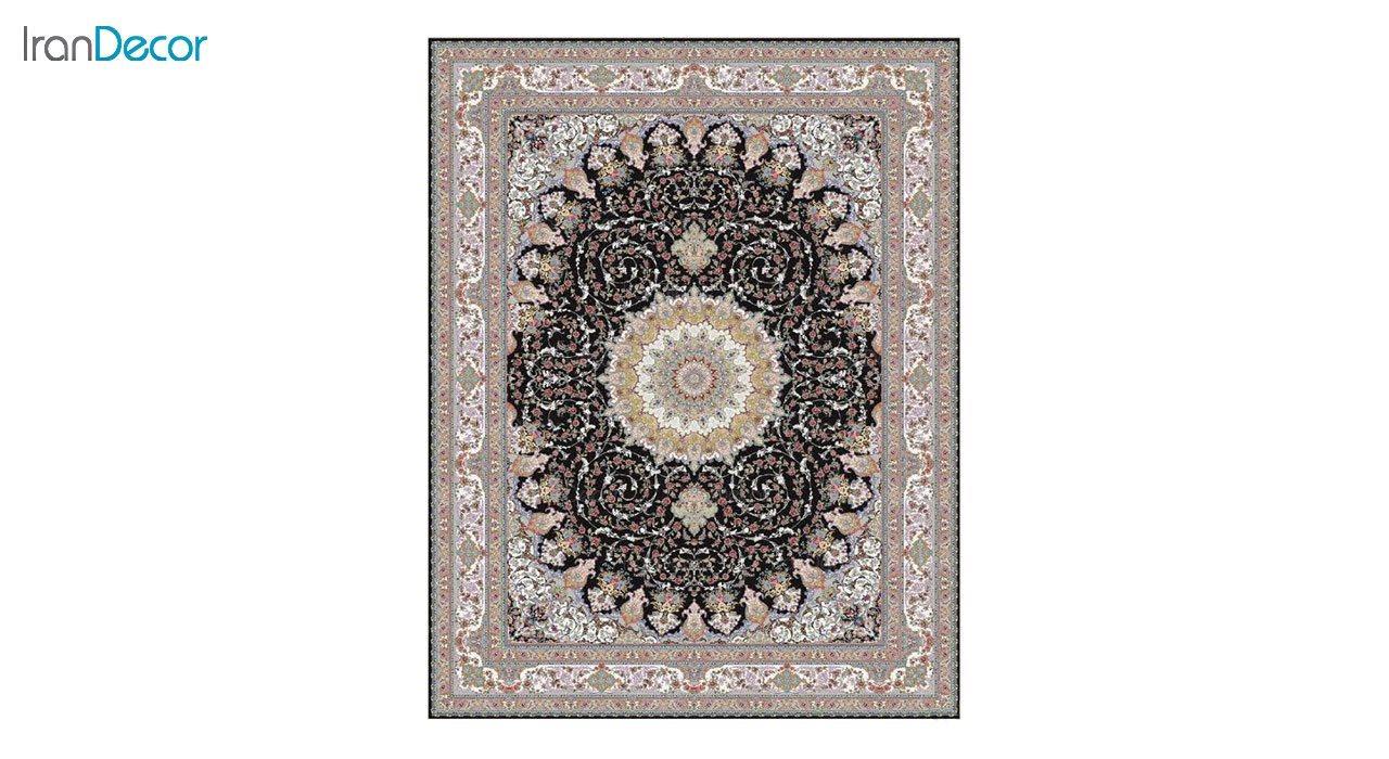 تصویر فرش ماشینی 1200 شانه کشمیر طرح مهدخت مشکی