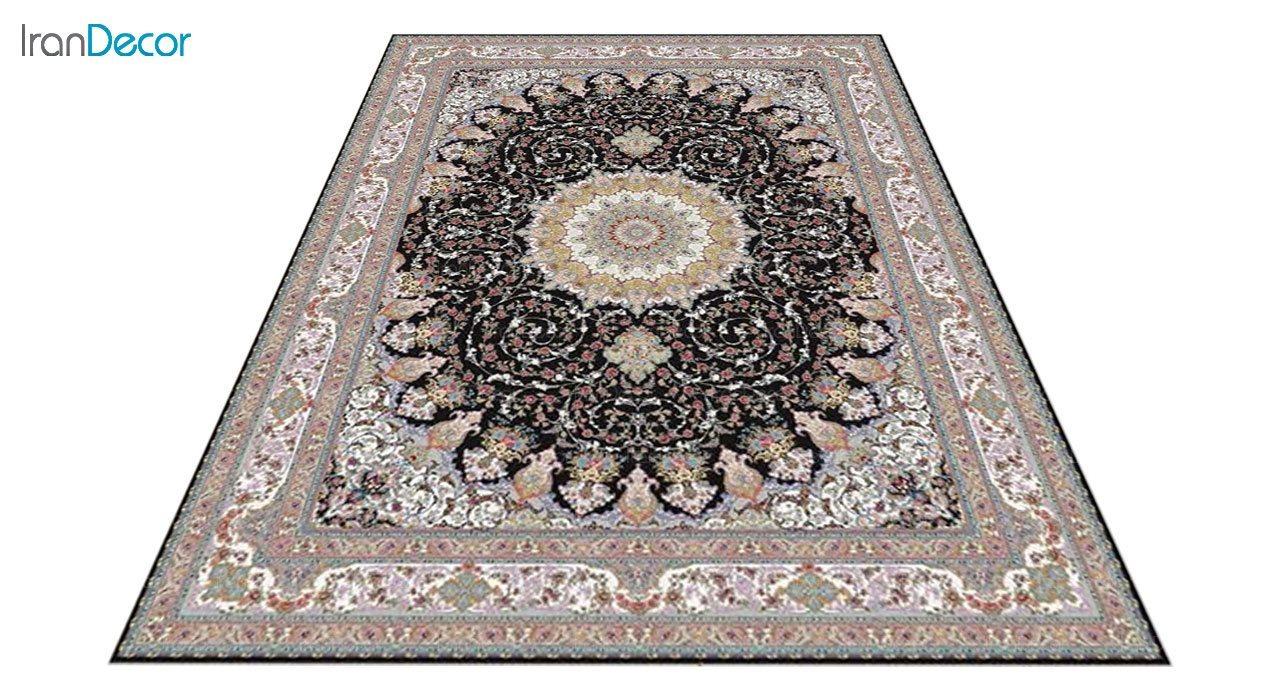 عکس فرش ماشینی 1200 شانه کشمیر طرح مهدخت مشکی